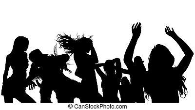 シルエット, 群集, ダンス