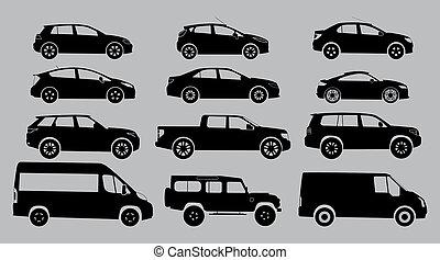シルエット, 自動車, 上に, a, 白, バックグラウンド。