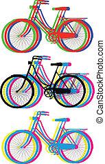 シルエット, 自転車, カラフルである
