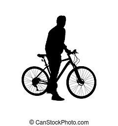 シルエット, 自転車, 人