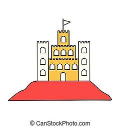 シルエット, 色, セクション, 砂, 旗, 城