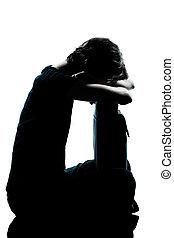 シルエット, 若い, 悲しい, ティーネージャー, 叫ぶこと, 女の子, 1(人・つ)