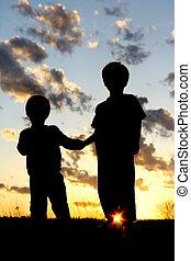 シルエット, 若い, 日没, 手を持つ, 子供