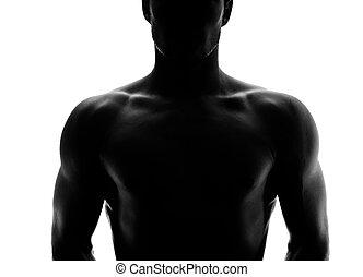 シルエット, 若い, 筋肉, 人