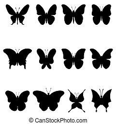 シルエット, 蝶, 黒