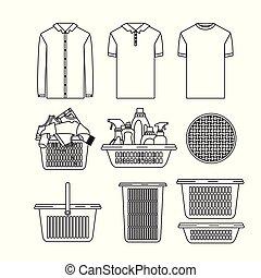 シルエット, 衣服, 清掃, 要素, 項目, 白い背景, セット, 洗濯物, プラスチック, 洗面器