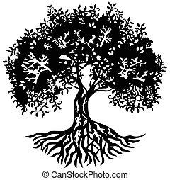 シルエット, 装飾, 木