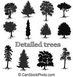 シルエット, 詳しい, 木, コレクション, ベクトル, デザイン, 手, 引かれる