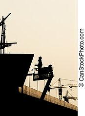 シルエット, 足場, 時間, 労働者, サイト, 建設, 夜, 前に