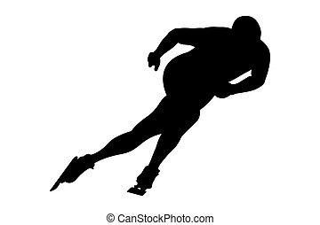 シルエット, 運動選手, 男性, 黒, スケーター, スピード
