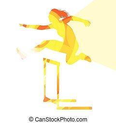 シルエット, 運動選手, 背景, ハードル, 女性, レース, カラフルである, 森林開拓地, イラスト, 概念