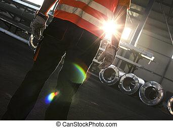 シルエット, 金属の 労働者, 生産, シート, ホール