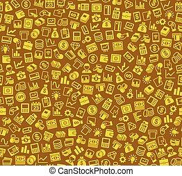 シルエット, 金融, ビジネス, pattern., seamless, icons., ベクトル, 背景