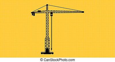 シルエット, 隔離された, サイト, 建設クレーン, タワー