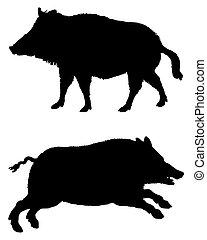 シルエット, 雄豚, 白, 黒, 2