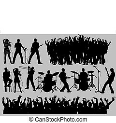 シルエット, 音楽, 人々
