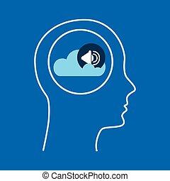 シルエット, 頭, スピーカー, 雲, 音楽
