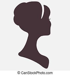 シルエット, 頭, 美しい, ヘアスタイル, 女, 流行