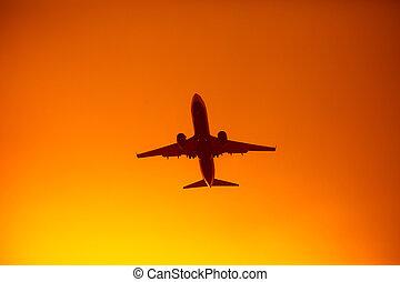 シルエット, 飛行, 空, 日没, オレンジ, 飛行機