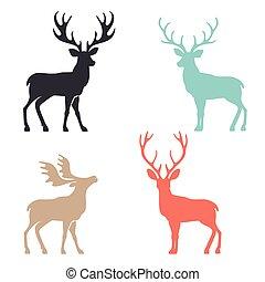 シルエット, 鹿, ∥で∥, 偉人, 枝角, 動物, ベクトル, illustration.