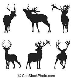 シルエット, 鹿, -, イラスト, ベクトル, 背景, 白