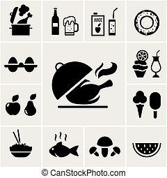 シルエット, 黒, セット, 食物アイコン