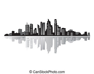 シルエット, 黒, 風景, 都市, 家