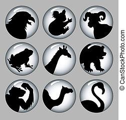 &, シルエット, 2, 黒, 動物, 白