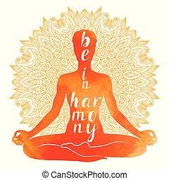 シルエット, asana, 水彩画, リラックス, ヨガ, meditation.