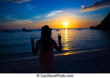 シルエット, boracay, カラフルである, 島, フィリピン, 日没, 女の子
