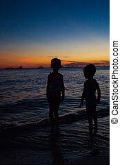 シルエット, boracay, 島, フィリピン, 女の子, 2, 日没