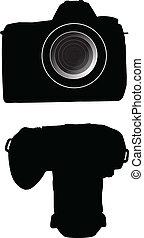 シルエット, dslr, 写真, cammera