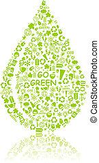 シルエット, eco, パターン, 低下, 緑, 行きなさい