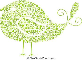 シルエット, eco, 緑, サイン, 行きなさい, 鳥, 満たされた