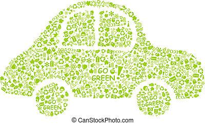 シルエット, eco, 自動車, 緑, パターン, 行きなさい