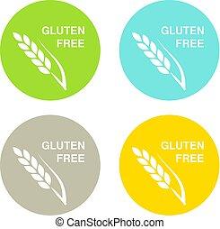 シルエット, gluten, ボタン, 隔離された, 無料で, シンボル, バックグラウンド。, ベクトル, spikelet., 白, 円