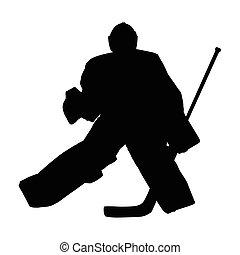 シルエット, goal., 氷, 横切って, ベクトル, ホッケー, 動く, ゴールキーパー