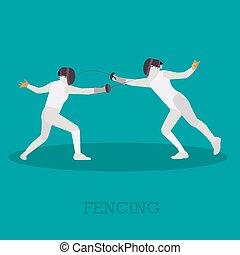 シルエット, illustration., フェンシング, 隔離された, icons., ベクトル, スポーツ, 運動選手