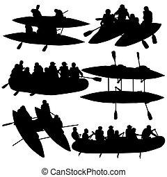 シルエット, illustration., 人々, kayaks., コレクション, ベクトル, たるき, カタマラン,...