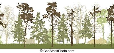 シルエット, illustration., 春, seamless, forest., ベクトル, パターン