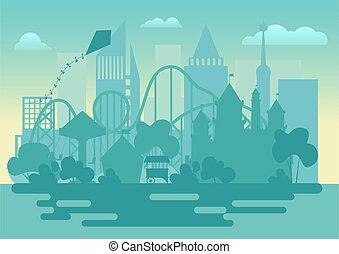 シルエット, illustration., 現代, 公園, ベクトル, 風景, 娯楽
