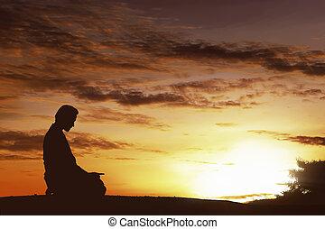 シルエット, muslim, アジア人, 丘の上, 祈ること, 人