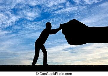 シルエット, resists, 大きい手, 握りこぶし, 人