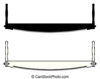 シルエット, saw., 薄くなりなさい, tools., 2, 線, アイコン, 大工, 人