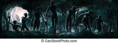 シルエット, zombies, 旗