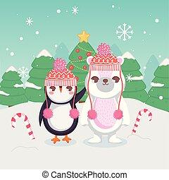 シロクマ, 陽気, 杖, ペンギン, クリスマス, キャンデー, かわいい