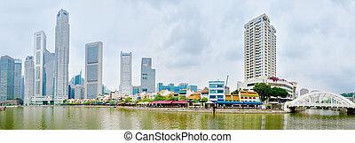 シンガポール川, 波止場, ∥で∥, skyscrappers, そして, レストラン