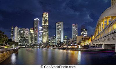 シンガポール, スカイライン, から, ボート, 波止場