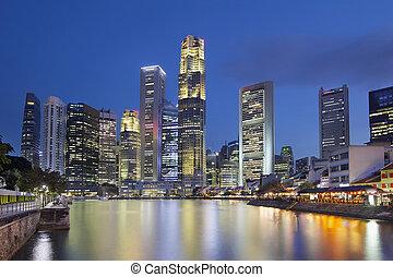 シンガポール, スカイライン, によって, ボート, 波止場