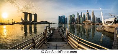 シンガポール, 湾, パノラマである, マリーナ, 日の出, 光景